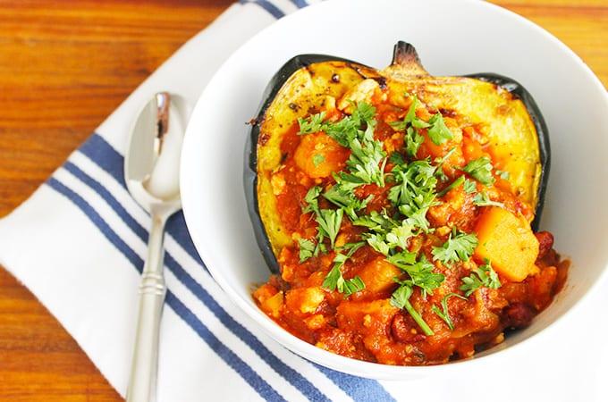 Savory butternut squash turkey chili recipe