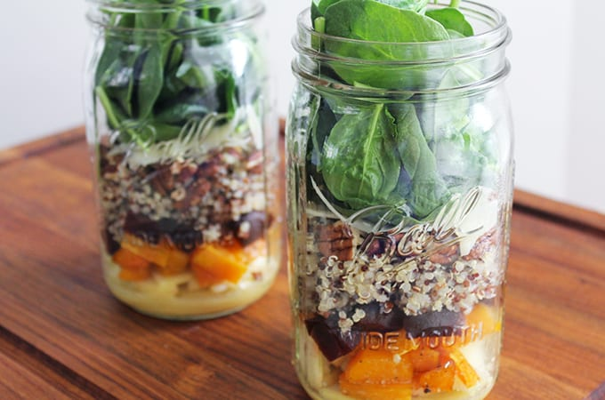 butternut squash and quinoa fall harvest mason jar salad
