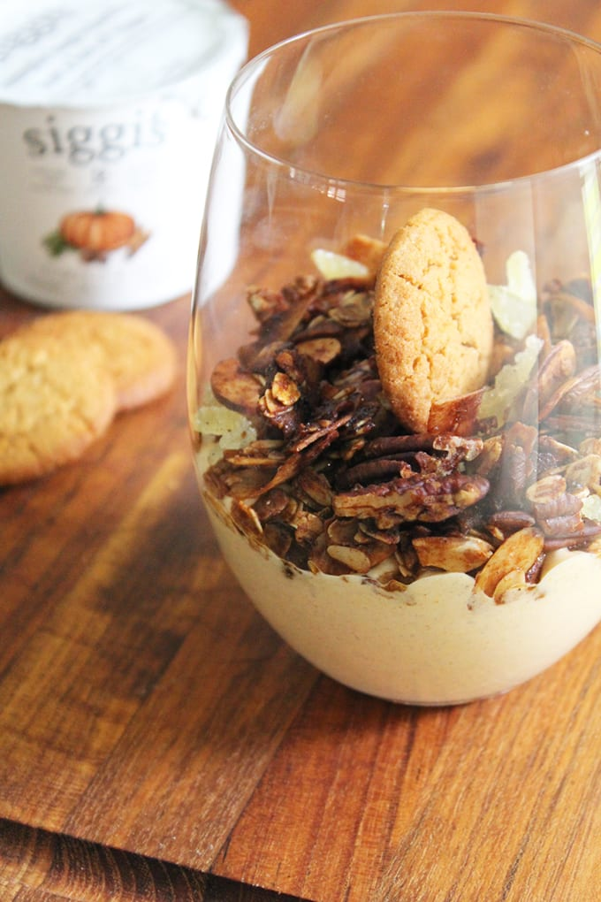 Pumpkin Yogurt Parfait With Gingersnap Granola