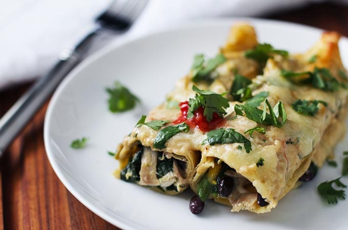spinach and black bean enchiladas