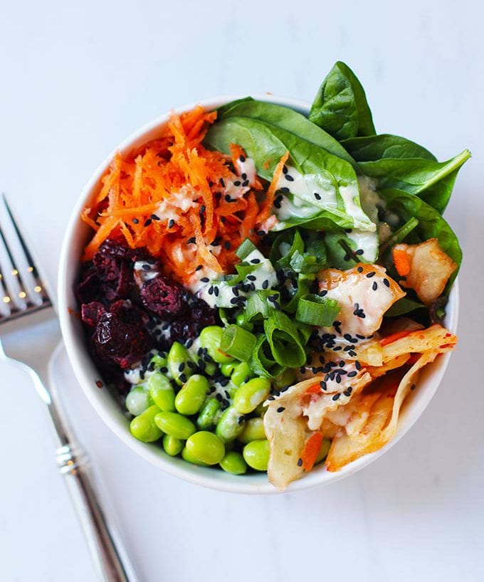 Asian Quinoa Power Bowl with Ginger Miso Dressing | FitLiving #vegan #superfood