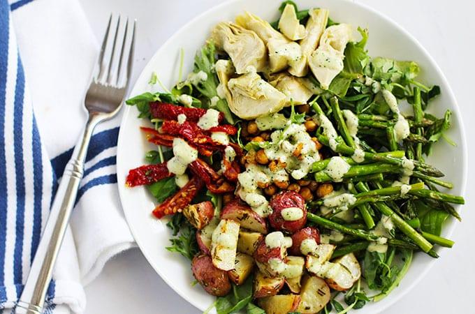 Farmer's Market Salad with a Creamy Lemon Dill Dressing {vegan}