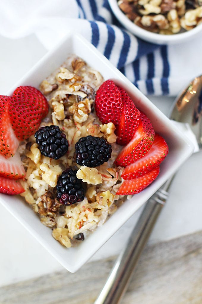 Apple Walnut Muesli for a quick and healthy breakfast! || FitLiving Eats