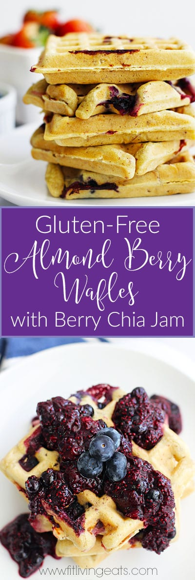 Gluten-Free Almond Berry Waffles with Berry Chia Jam for a lazy weekend brunch! || FitLiving Eats