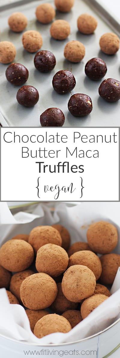 Chocolate Peanut Butter Maca Truffles | fitlivingeats.com