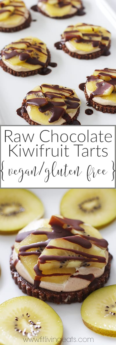 Raw Chocolate Kiwi Fruit Individual Tarts (vegan and gluten-free) | fitlivingeats.com