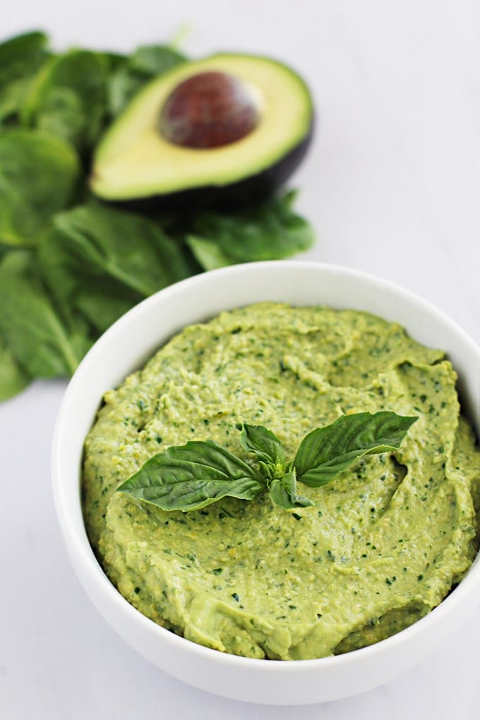 Clean Green Avocado Hummus with Homemade Pita Chips || FitLiving Eats