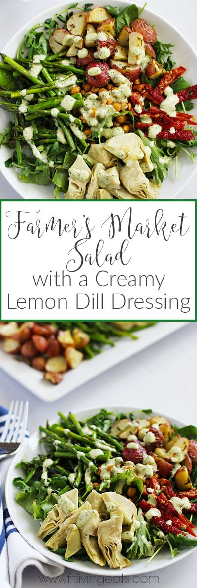 Farmer's Market Salad with Vegan Creamy Lemon Dill Dressing || FitLiving Eats