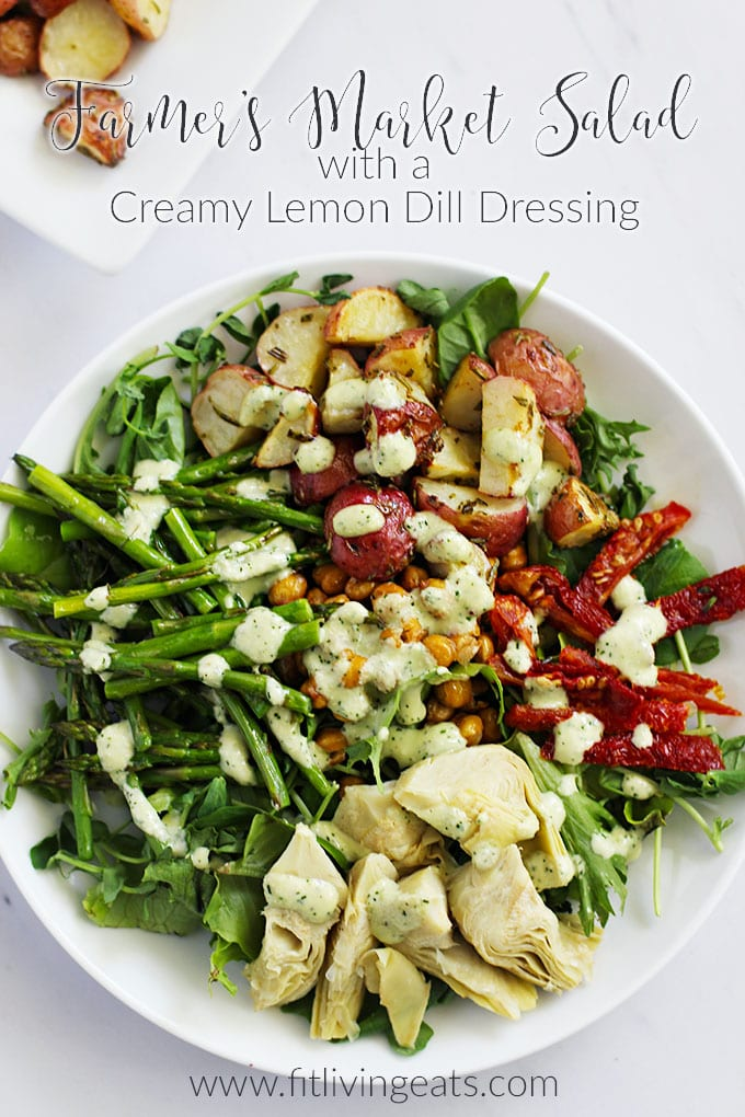 Farmer's Market Salad with Creamy Lemon Dill Dressing featuring seasonal produce! || FitLiving Eats