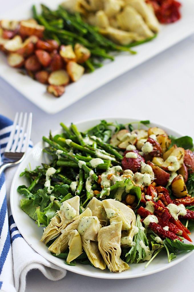 Farmer's Market Salad with Creamy Lemon Dill Dressing featuring seasonal produce!    FitLiving Eats