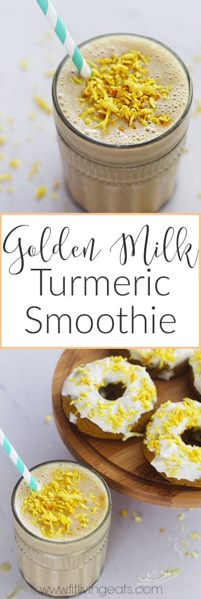 Enjoy the healing benefits of golden milk in the heat of the summer with this vegan golden milk smoothie! | fitlivingeats.com