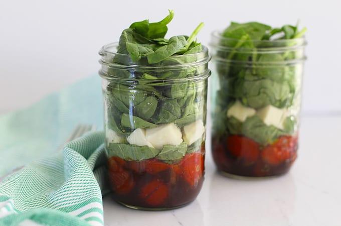 Roasted Tomato Caprese Mason Jar Salad