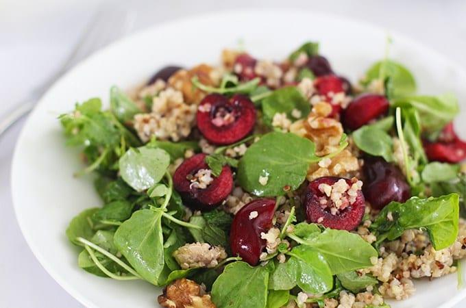 Antioxidant-Rich Super Grain Salad with Cherries & Walnuts