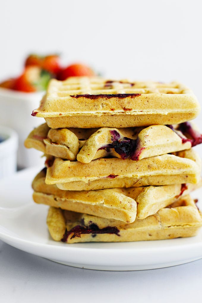 Gluten-Free Berry Almond Waffles with Berry Chia Jam || FitLiving Eats