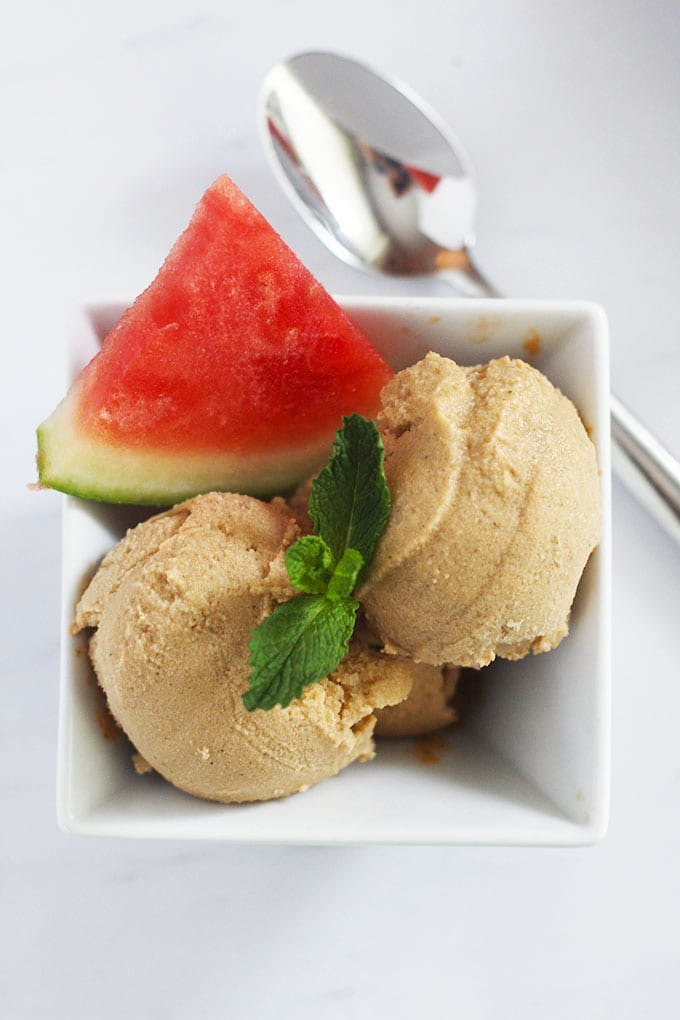 Indulge in this creamy and healthy {dairy-free} Watermelon Mint Ice Cream made with coconut milk!   fitlivingeats.com