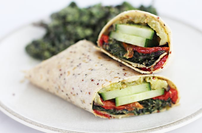 Roasted Veggie Mediterranean Wrap with Sabra Garlic Herb Spread