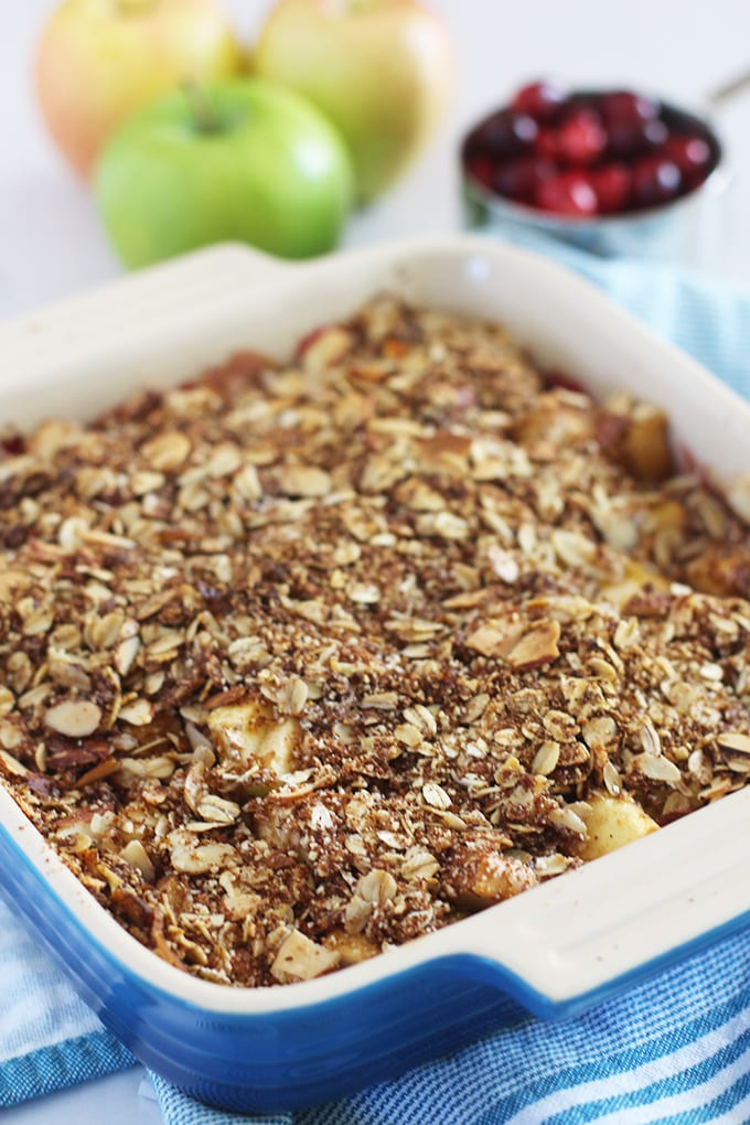 Healthy Cranberry Apple Crisp with an Almond Crumble | FitLiving Eats