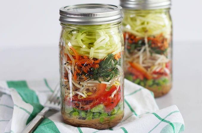 Raw Pad Thai Mason Jar Salad with Kelp Noodles