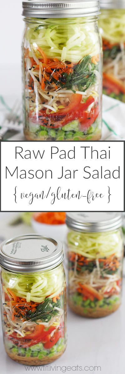 Raw Pad Thai Mason Jar Salad with Kelp Noodles (vegan and gluten-free!) | FitLiving Eats