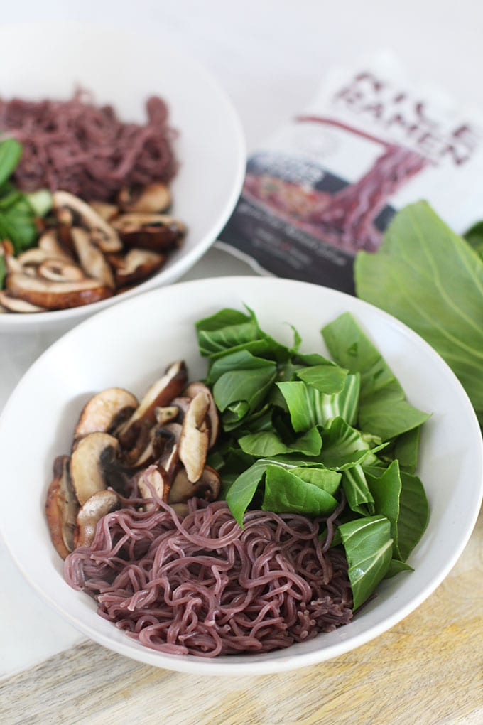 Mushroom Ramen Bowl with Ginger Mushroom Broth full of anti-inflammatory and immunity boosting nutrients!