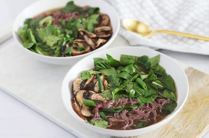 Mushroom & Bok Choy Ramen Bowl with Ginger Mushroom Broth