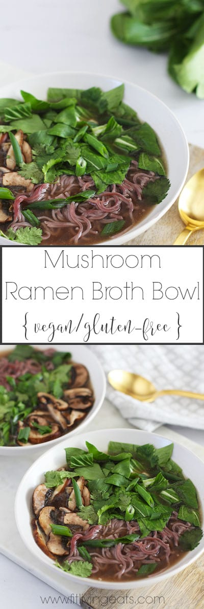 Mushroom Ramen Bowl with Ginger Mushroom Broth | FitLiving Eats