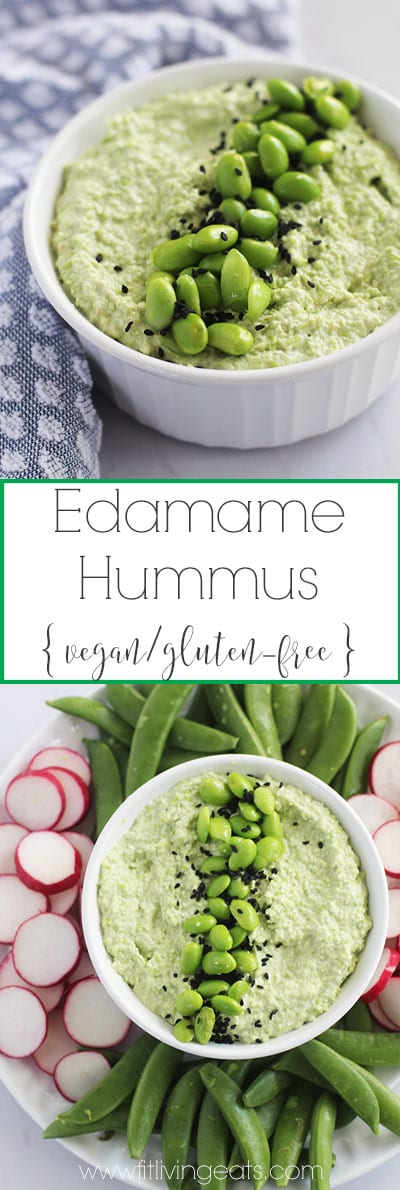 Get the recipe for this delicious and healthy protein-packed edamame hummus! The perfect vegan and gluten-free dip or spread for Meatless Monday. | FitLiving Eats