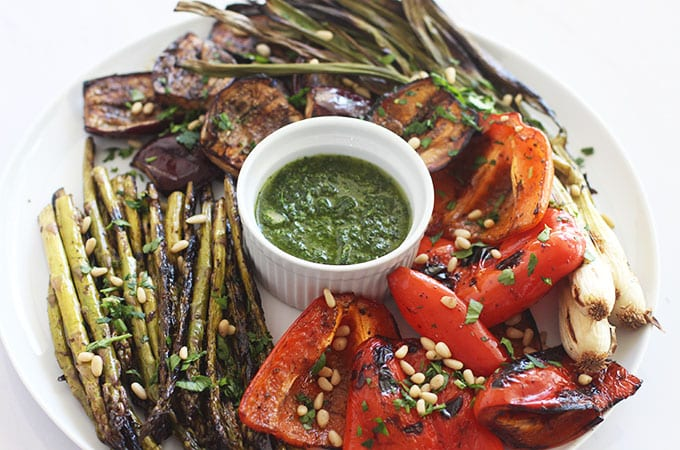Simply Grilled Vegetables with a Garlic Herb Dipping Oil
