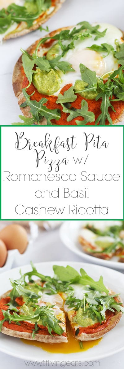 Breakfast Pita Pizza with Romanesco Sauce and Basil Cashew Ricotta to make all of your breakfast dreams come true! | FitLiving Eats
