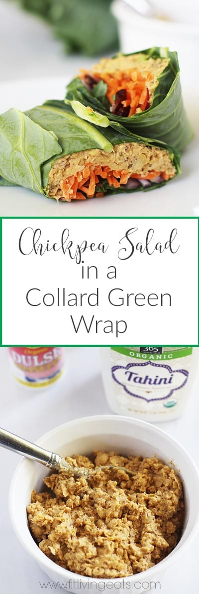 "No ""Tuna"" Chickpea Salad in a Collard Green Wrap made with staples you have in your kitchen! 