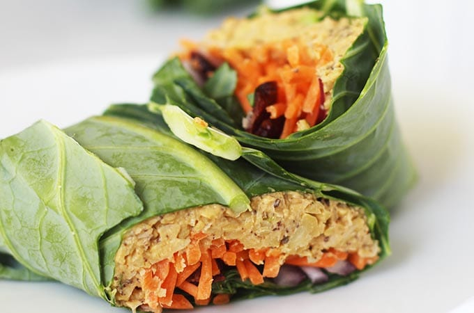 "No ""Tuna"" Chickpea Salad in Collard Green Wrap"