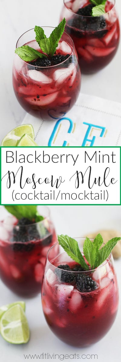 Blackberry Mint Moscow Mule (cocktail or mocktail!) | FitLiving Eats