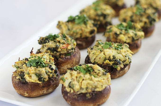 spinach artichoke hummus stuffed mushrooms featured