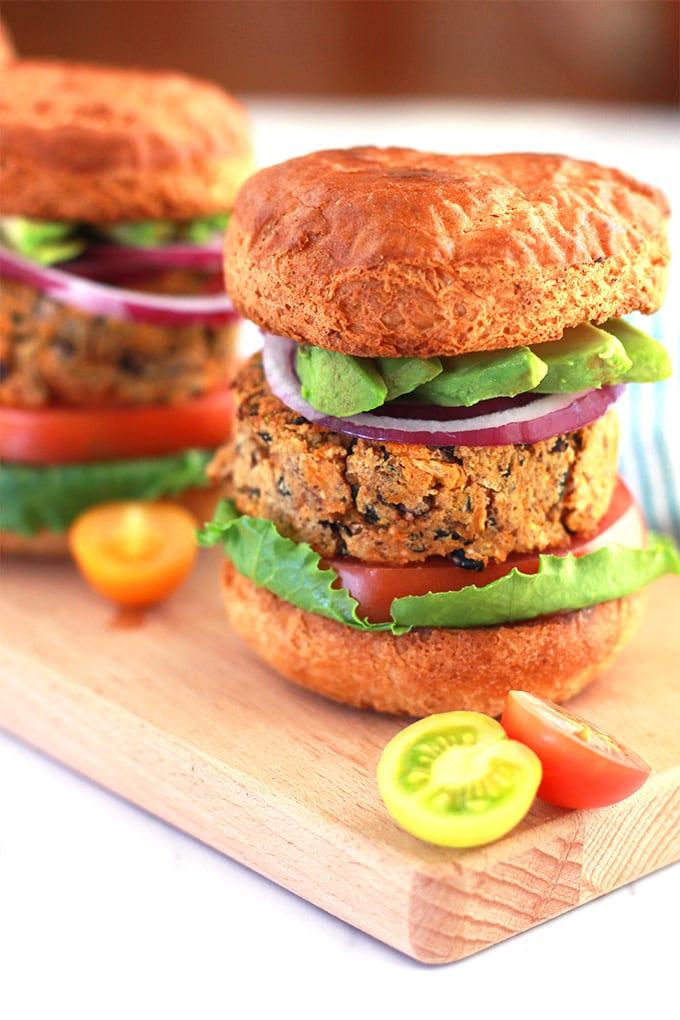 Sweet Potato and Black Bean Veggie Burgers for Meatless Monday! vegan and gluten-free