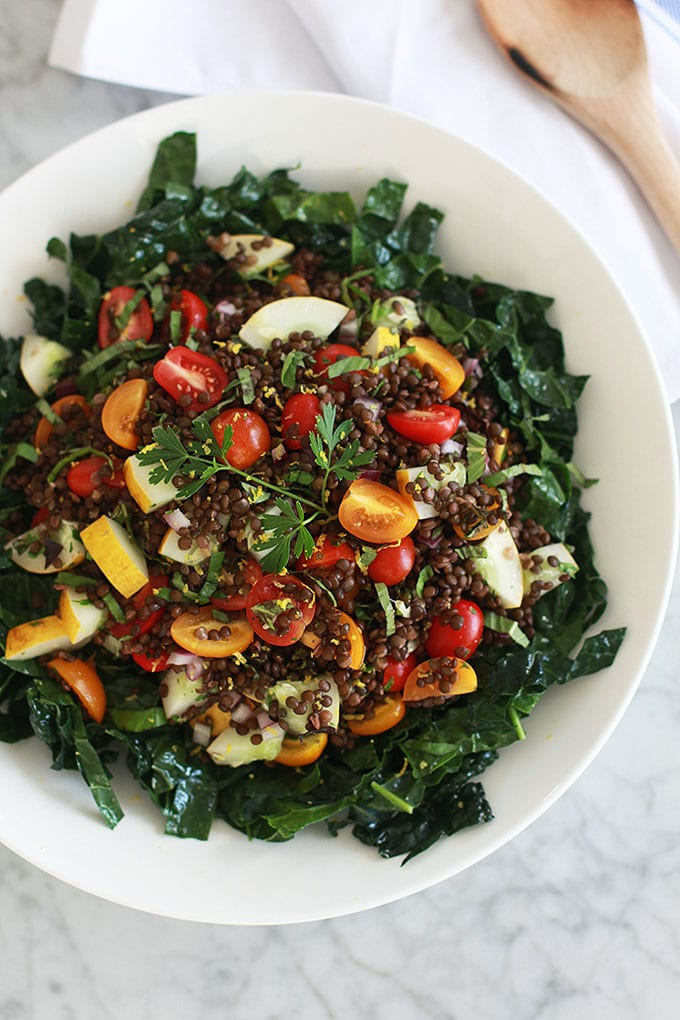 10-Minute Veggie Greek Lentil Salad (vegan + gluten-free)