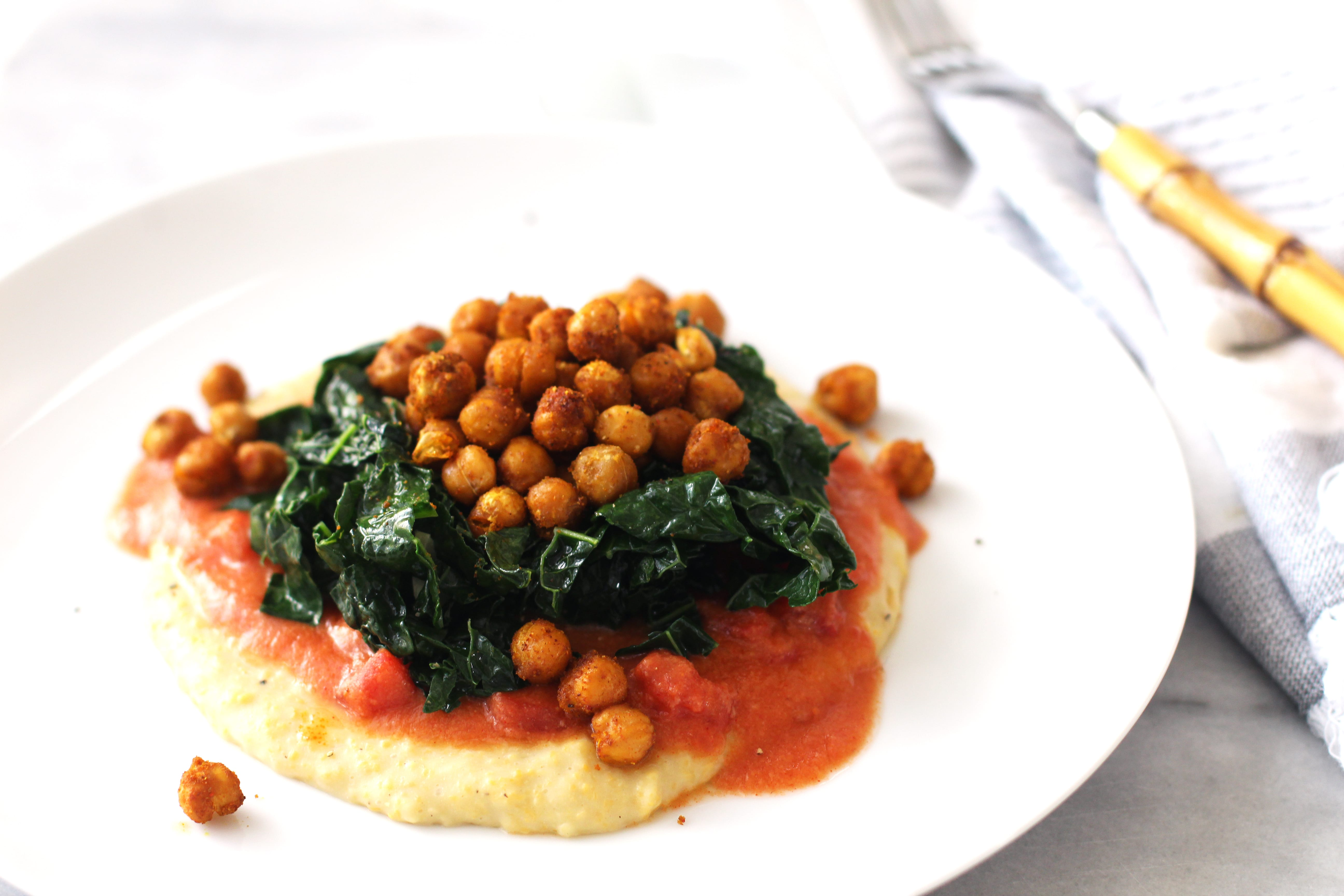 Vegan Creamy Polenta with Garlicky Kale & Roasted Chickpeas