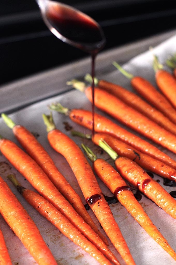 roasted carrots with pomegranate glaze