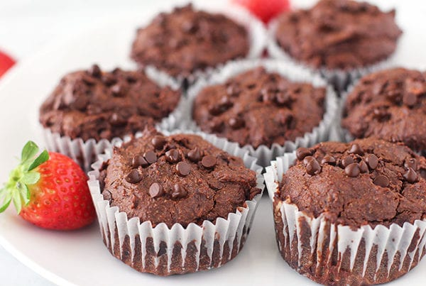 double chocolate sweet potato brownie muffins