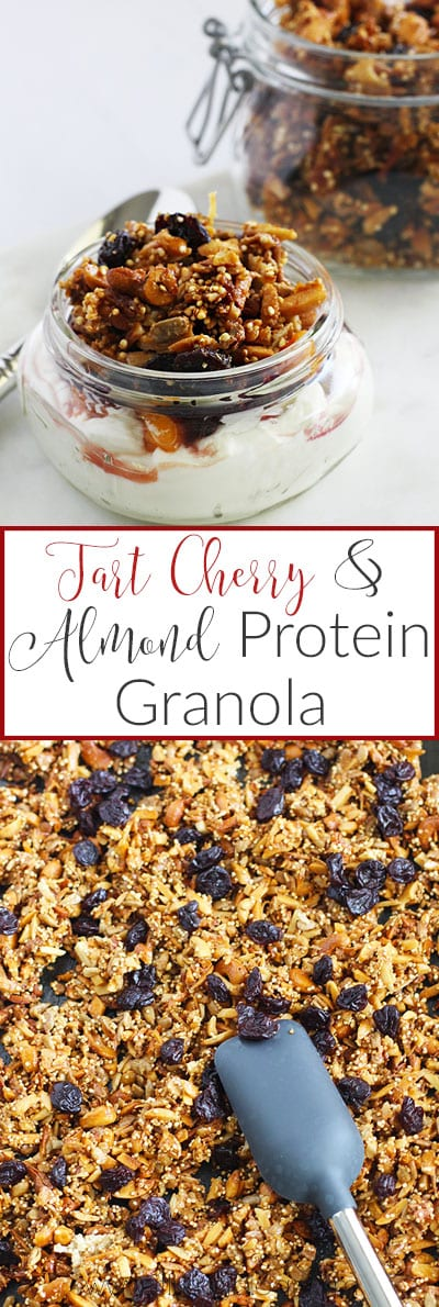 Tart Cherry and Almond Protein Granola {vegan and gluten-free} || FitLiving Eats