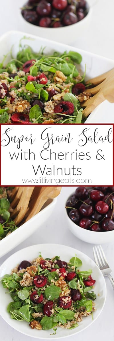 Super Grain Salad with Cherries and Walnuts | Get the recipe for this delicious and simple summery salad made with gluten free whole grains, sweet cherries, walnuts and fresh greens!