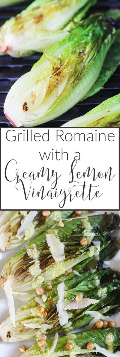 Grilled Romaine with a Creamy Lemon Vinaigrette | fitlivingeats.com