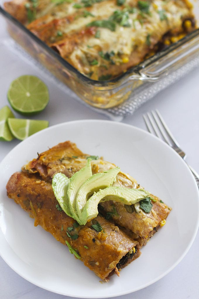 Enjoy these kale and mushroom enchiladas three ways (vegetarian, vegan and chicken) for a Mexican fiesta, Meatless Monday or any other day of the week! | FitLiving Eats