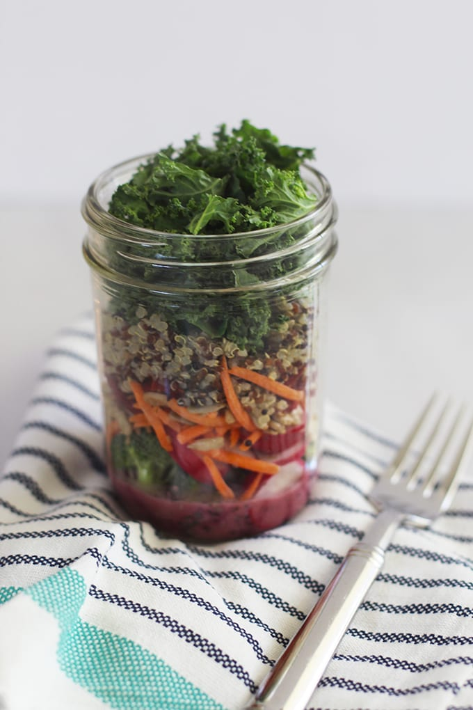 The Ultimate Superfood Detox Mason Jar Salad to boost energy and nourish the body from the inside out! | fitlivingeats.com