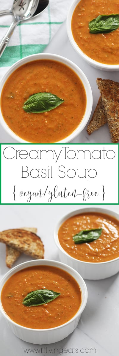 This delicious bowl of (vegan) creamy tomato basil soup will warm you up on any chilly day! The soup is vegan and gluten-free and is made with a secret vegan ingredient to make it creamy!