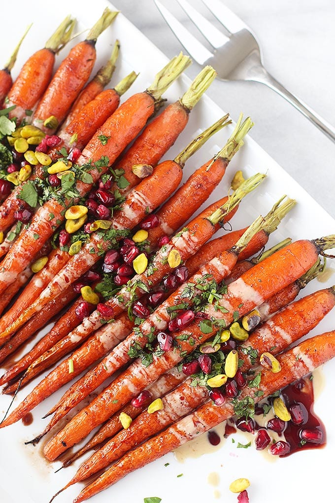 roasted carrots with pomegranate glaze
