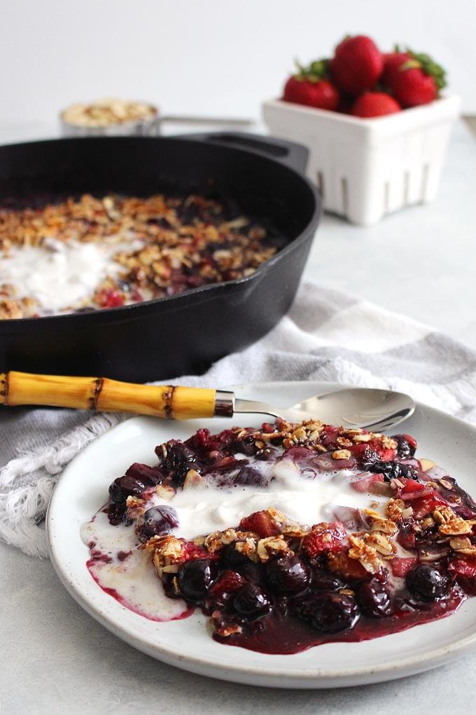 gluten-free/vegan almond berry crisp with coconut whipped cream