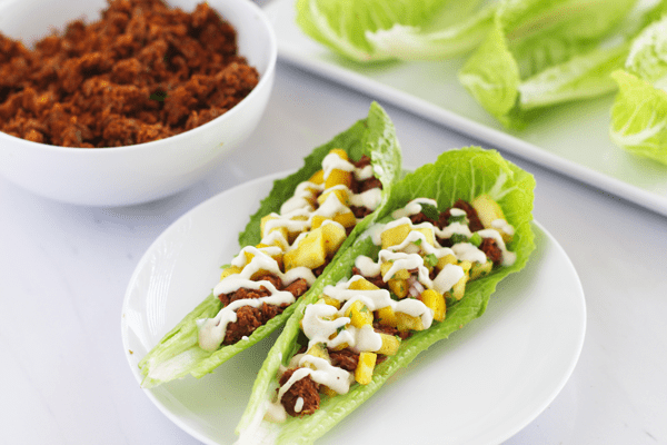 lentil tacos made with romaine lettuce leaves