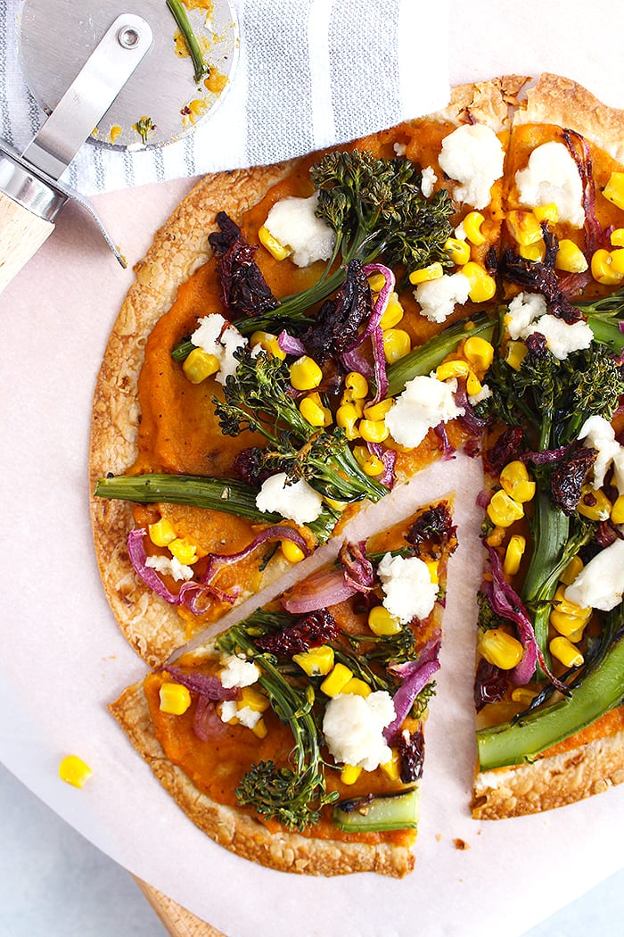 FitLiving Eats by Carly Paige - butternut squash tortilla pizza pinterest