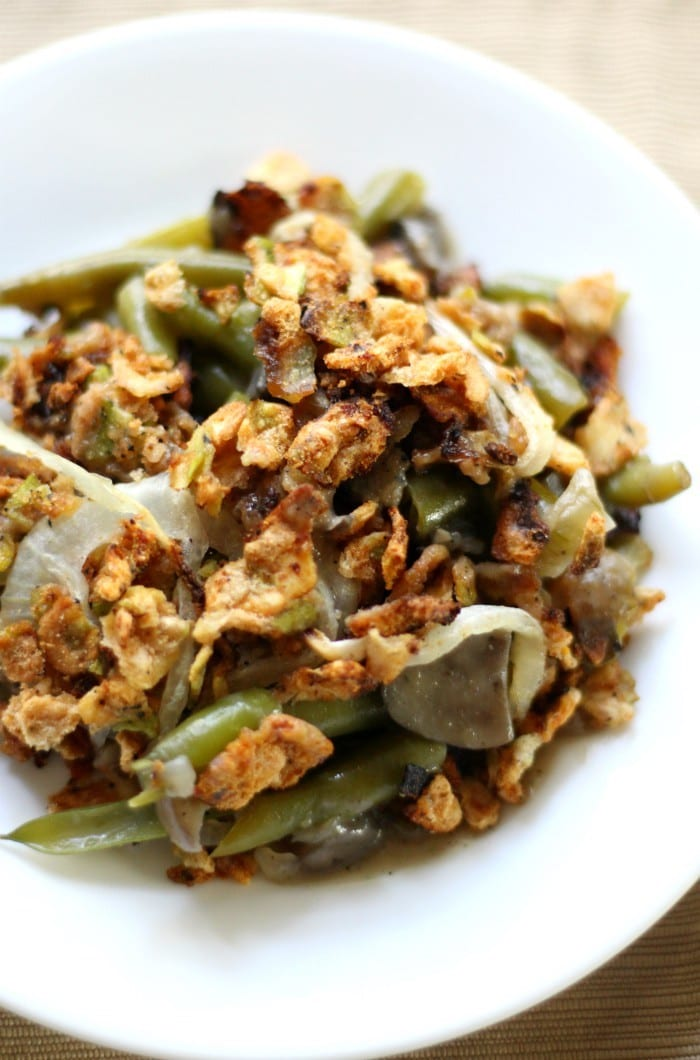 FitLiving Eats by Carly Paige - 30 Vegan Thanksgiving Side Dishes - Healthy-Gluten-Free-Green-Bean-Casserole-5