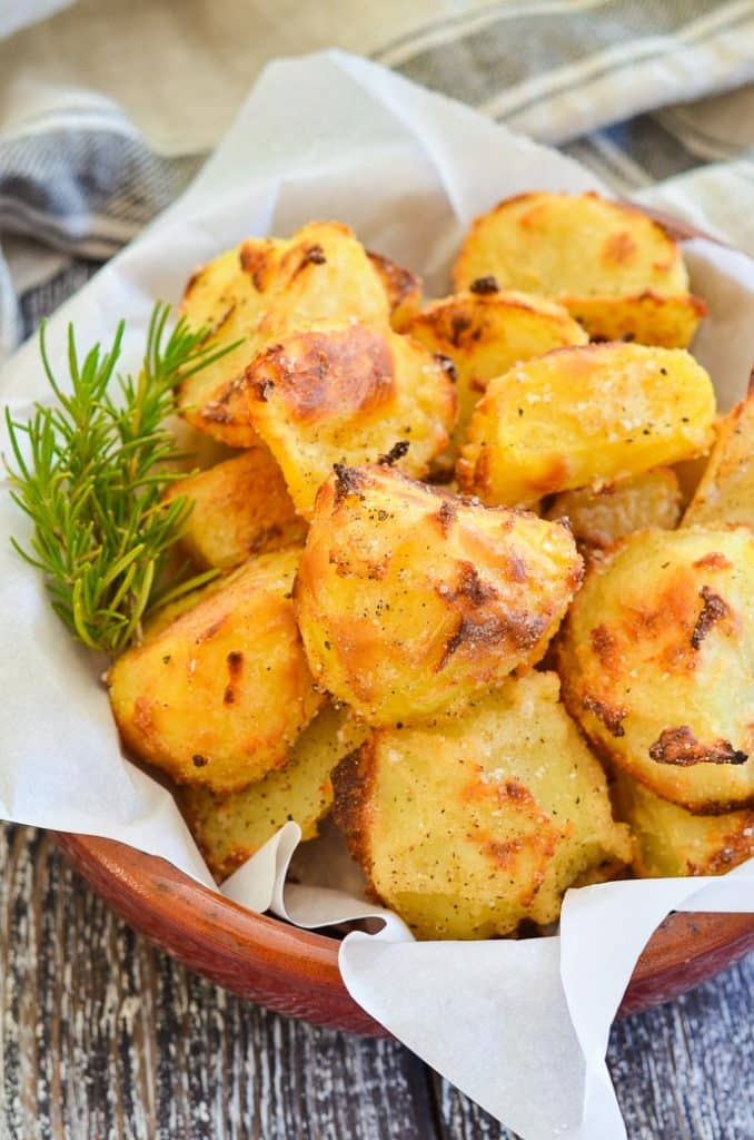 FitLiving Eats by Carly Paige - 30 Vegan Thanksgiving Side Dishes - healthy-no-oil-crispy-roasted-potatoes-5-678x1024